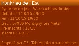 tournoi WARMACHINE par équipe de 3 a Metz le dim 11 octobre 2015 14998